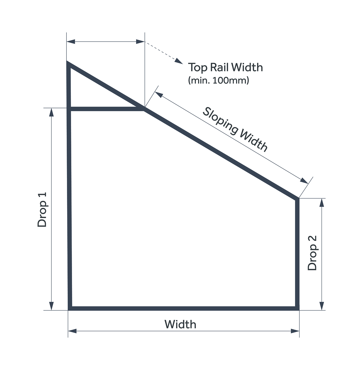 Measuring Roof Pleated Blinds Diagram